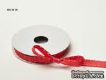 Сатиновая лента с узловатой кромкой - красная(арбузовая), ширина - 10 мм, длина 90 см - ScrapUA.com