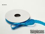 Сатиновая лента с узловатой кромкой - бирюзовая, ширина - 10 мм, длина 90 см - ScrapUA.com