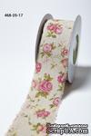 Лента - Vintage Inspired Print Pink Floral - розовая, ширина - 64 мм, длина 90 см - ScrapUA.com