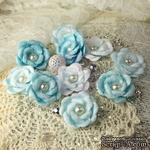 ЦЕНА СНИЖЕНА! Тканевые цветочки  от Prima -   Blue Ice - Audrey Rose Collection, 10 шт. - ScrapUA.com