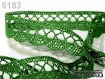 Кружево хлопчатобумажное, цвет зеленый, ширина 18мм, 90см - ScrapUA.com