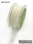 Кружево с жемчужинками - Sheer Lace Trim with Pearl Center Ribbon with Scalloped Edge, ширина 16мм, длина 90 см - ScrapUA.com