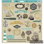 Лист наклеек из чипборда Prima - Seashore - Chipboard Pieces - ScrapUA.com
