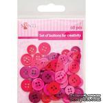 Набор пуговиц для творчества, пластик, 11мм и 14мм, 3 цв., 60шт./уп., розовый, ТМ Santi - ScrapUA.com