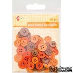 Набор пуговиц для творчества, пластик, 11мм и 14мм, 3 цв., 60шт./уп., оранжевый, ТМ Santi - ScrapUA.com