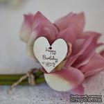 Сердечко деревянное: happy birthday, 3х3,3см - ScrapUA.com