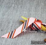Лента American Crafts в розово-коричневую диагональную полоску, ширина 22мм, 90 см - ScrapUA.com