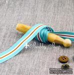Лента American Crafts в голубую, белую, коричневую полоску, ширина 15,7мм, 90 см - ScrapUA.com