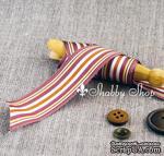Лента American Crafts в фиолетовую, коричневую, белую полоску, ширина 25,4мм, 90 см - ScrapUA.com