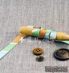 Лента American Crafts в зеленую, голубую, коричневую, белую диагональную полоску, ширина 9,5мм, 90 см - ScrapUA.com