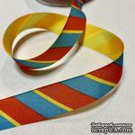 Лента American Crafts в красную, голубую, желтую диагональную полоску, ширина 22мм, 90 см - ScrapUA.com