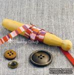 Лента American Crafts в полосочку коричневых и розовых тонов, ширина 6,35мм, 90 см - ScrapUA.com