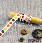 Лента American Crafts белая в желтые, оранжевые, красные и коричневые кружочки , ширина 9,5мм, 90 см - ScrapUA.com