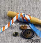 Лента American Crafts в диагональную голубую, белую, оранжевую полоску, ширина 9,5мм, 90 см - ScrapUA.com