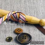 Лента American Crafts в диагональную розовую, белую, оранжевую, коричневую полоску, ширина 9,5мм, 90 см - ScrapUA.com