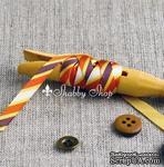 Лента American Crafts в диагональную золотую, оранжевую, фиолетовую, белую полоску, ширина 9,5мм, 90 см - ScrapUA.com