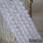 Лента из маленьких розочек, цвет белый, 6 рядов цветов, длина 30 см - ScrapUA.com