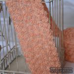 Лента из маленьких розочек, цвет персиковый, 6 рядов цветов, длина 30 см - ScrapUA.com
