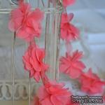 Лента с цветами из шифона, цвет кораллово-розовый, 6 цветков - ScrapUA.com