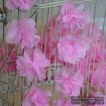 Лента с цветами из шифона, цвет розовый, 6 цветков - ScrapUA.com