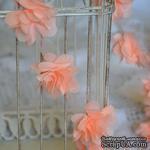 Лента с цветами из шифона, цвет персиковый, 6 цветков - ScrapUA.com