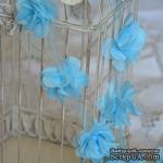Лента с цветами из шифона, цвет голубой, 6 цветков - ScrapUA.com