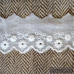Кружево шитье, цвет белый натуральный, 100% хлопок, ширина 5 см, длина 45 см - ScrapUA.com
