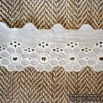 Кружево шитье, цвет белый натуральный, 100% хлопок, ширина 4 см, длина 45 см - ScrapUA.com