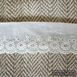 Кружево шитье, цвет белый натуральный, 100% хлопок, ширина 3.8 см, длина 45 см - ScrapUA.com