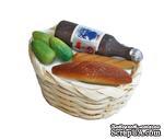 Продукты в плетеной корзине с бутылкой от Art of Mini - ScrapUA.com