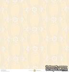Лист скрапбумаги с бархатным напылением от Anna Griffin Paper - Eleanor Flocked Cream, 30 x 30 - ScrapUA.com