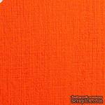 Дизайнерский картон с фактурой льна Sirio tela arancio, 30х30, оранжевый, 290 г/м2, 1 шт - ScrapUA.com