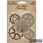 Набор металлических украшений Tim Holtz - Idea-Ology Metal Gadget Gears, 5 штук, шестеренки - ScrapUA.com