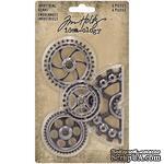 Набор металлических украшений Tim Holtz - Idea-Ology Metal Industrial Gears, 4 штуки, шестеренки - ScrapUA.com