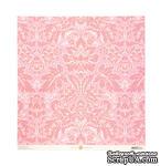 Лист односторонней скрапбумаги c тиснением от Anna Griffin Paper - Olivia Embosed Acanthus Pink, 30 x 30 - ScrapUA.com