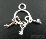 """Металлическое украшение """"Связка ключей"""", серебро, размер 27х12 мм, 1 шт. - ScrapUA.com"""
