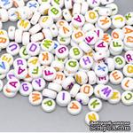 Бусины Алфавит - altered Style Embellishments Alphabet Beads Round, c цветными буквами, 500 штук - ScrapUA.com
