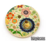 Деревянная пуговица Multicolor Flower B10665, диаметр 23 мм, 1 шт. - ScrapUA.com