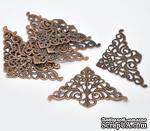 Фигурные уголки, медь, размер 7,5х4,8 мм, 2 шт. - ScrapUA.com
