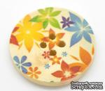 Деревянная пуговица Multicolor Flower Pattern  B15464, диаметр 3 см, 1 шт. - ScrapUA.com