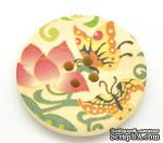 Деревянная пуговица Multicolor Butterfly Pattern B15465, диаметр 3 см, 1 шт. - ScrapUA.com
