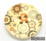 Деревянная пуговица Multicolor Flower Pattern  B15466, диаметр 3 см, 1 шт. - ScrapUA.com
