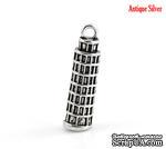 """Металлическое украшение/подвеска """"Пизанская башня"""", 26х7мм, античное серебро, 1 шт. - ScrapUA.com"""