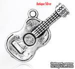 """Металлическое украшение/подвеска """"Гитара"""", 25х12мм, античное серебро, 1 шт. - ScrapUA.com"""