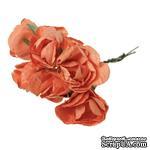 Розочки, цвет оранжевый, диаметр 25-30 мм, длина - 8 см, 6шт. - ScrapUA.com