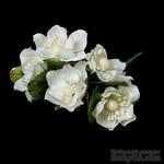 Белые цветочки, диаметр 40 мм, длина 11 см, 6шт. - ScrapUA.com