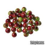 Ягодки калины красно-зеленые 14.0мм x 12.0мм, 40 ягодок - ScrapUA.com