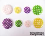 """Набор пуговиц в горошек """"Девочка"""", диаметр 15 и 23 мм, 8 штук - ScrapUA.com"""