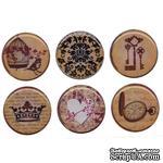Готовые эпоксидные украшения-наклейки Bottle Cap Inc. - Amber Romance, диаметр 2,5 см, 6 штук - ScrapUA.com