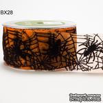 Лента в стиле Хелоуин - 2 Inch Sheer Spider Web Ribbon, 5 см, длина 90 см - ScrapUA.com